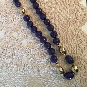 Jewelry - Beaded Necklace with purple and gold metal beads